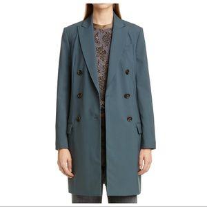 NEW Brunello Cucinelli Green Long Wool Coat